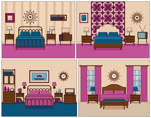 Bedroom interior. Hotel rooms with bed. Vector. Linear flat design illustration. Retro house furniture. Home space sketch in line art. Outline contour apartment. Set vintage backgrounds 1950s 1960s.
