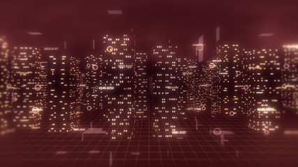 Abstract 3d city render with financial numbers around. Red theme.