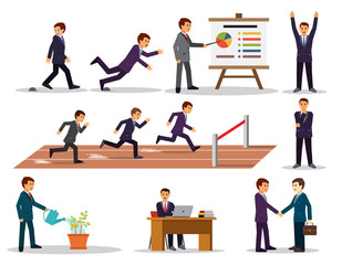 Businessman in different situations. Vector set. Eps 10