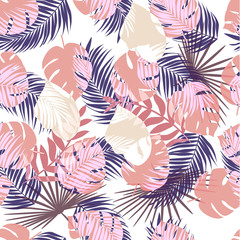 Creative hand drawn textures. Trendy Graphic Design. Vector seamless tropical pattern.