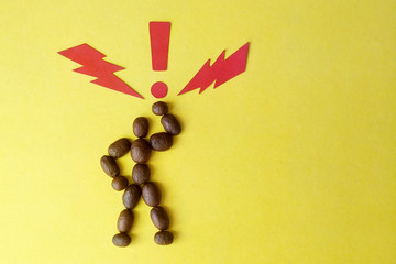 Image of a coffee bean man on yellow background paper signs lightning bolt and exclamation point symbol of super energy