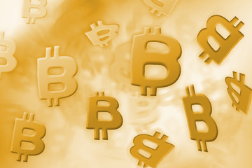 Illustration of Bitcoin - virtual currency in gold