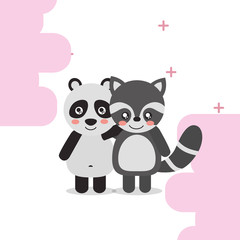 cute animal panda raccoon colored background vector illustration