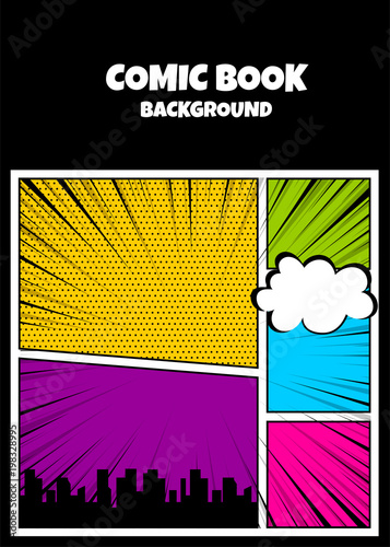 blank humor graphic pop art comics book magazine cover template
