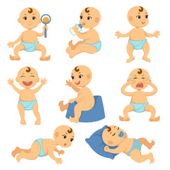 Baby toddler child vector flat character isolated boy or girl infant o exploring life things