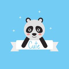 cute animal panda ribbon shiny background vector illustration