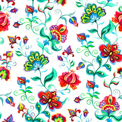 Hand crafted native motifs - seamless floral background in intricate flowers. Watercolor