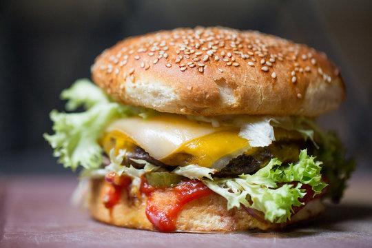 close up of tasty classic burger