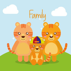 cute animals tigers family in landscape field vector illustration