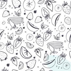 Fruit seamless pattern. Juice, detox water hand drawn background