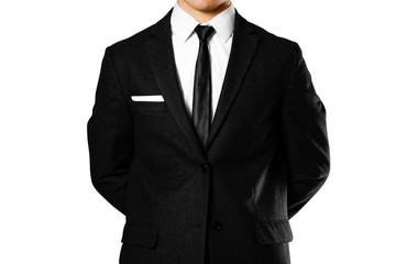 Businessman in a black suit, white shirt and tie. Studio shooting. Isolated on white background