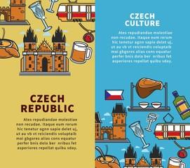 Czech Republic culture commercial travel agency vertical banners set