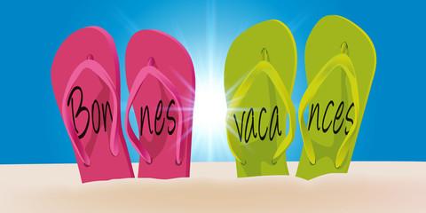 Vacances - tong - plage - concept - symbole - été - bonnes vacances - soleil - message - zen