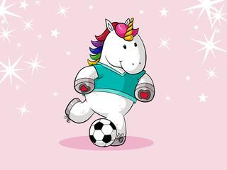 Fußball Comic Einhorn