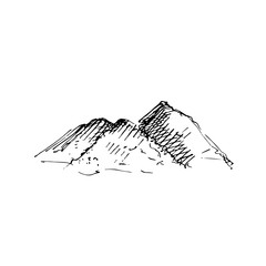 Hand drawn pile of sand, ore, stone or rubble. Sketch, vector illustration.