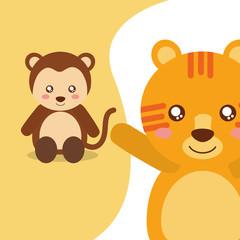cute animals monkey sitting tiger waving hand character vector illustration