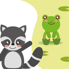 cute animals frog sitting raccoon waving hand character vector illustration