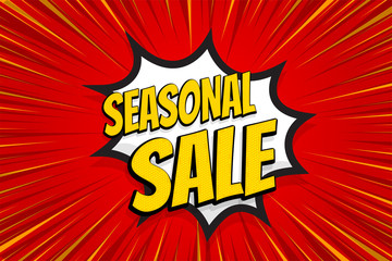 Seasonal sale comic text pop art sticker