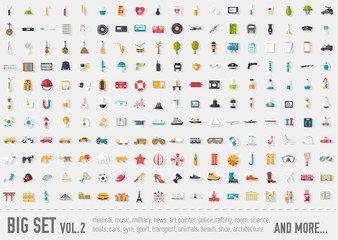 Flat big collection set icons of medical, army, war, shoe, nature, news, draw, police etc. For infographic illustration design
