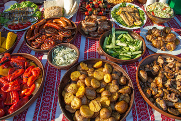 collection of tasty dishes on table