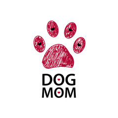 Red paw print and hearta. Dog mom text. Happy Mother's Day background