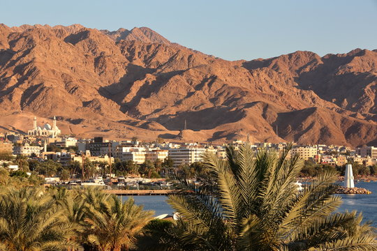 General view of the town of Aqaba at sunset with Palm trees in the foreground and mountains in the background, Jordan, Middle East