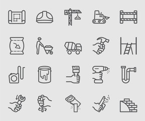Construction working line icon