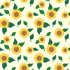 Sunflowers and leaves seamless pattern