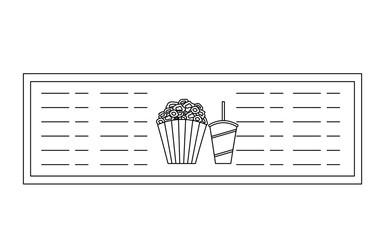 pop corn and soda in showcase cinema icon vector illustration design