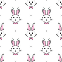 cute rabbits with bow tie on white background