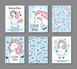 """Set cards with unicorns. Poster, postcard, label for printing. Greeting cards with unicorns, hand written text. postcard """"I love you""""."""
