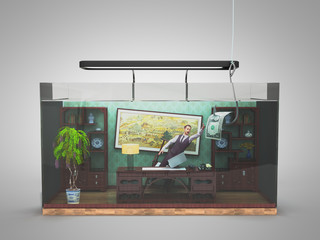 the concept of limited choice, social exclusion, working office in the aquarium with a 3d genereted person 3d render on grey