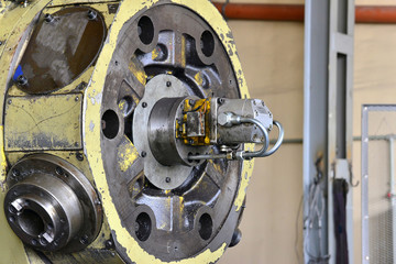 Spindle for the cone of the cutter in disassembled form. Repair of machine tools and equipment.
