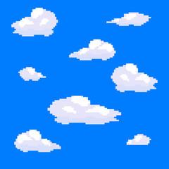 Vector pixel art cloud collection set. Blue sky