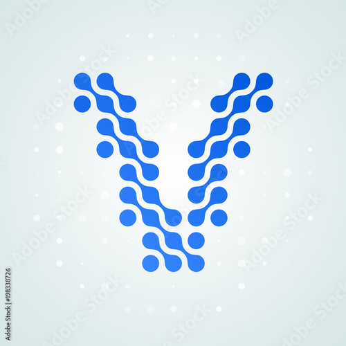 Letter V Logo Modern Halftone Icon Vector Flat Letter V Sign In
