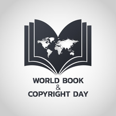 World Book and Copyright Day logo icon design, vector illustration