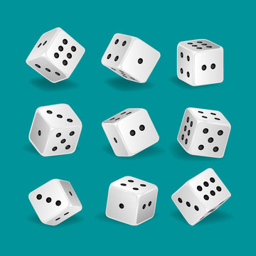 Set of realistic white game dice in different positions.