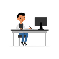 Cute Young Guy Sitting at Desk and Working on Computer. Flat Style Vector