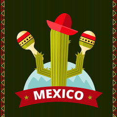 Funny mexican cactus poster design