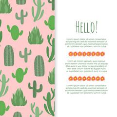 Desert flowers banner design - poster with cactuses
