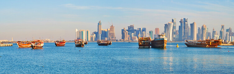 The wooden ships in Doha harbor, Qatar