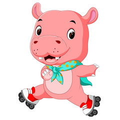 cute hippo playing roller skates