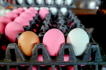 three egg on package in market, normal egg, salted egg and preserved egg.jpg