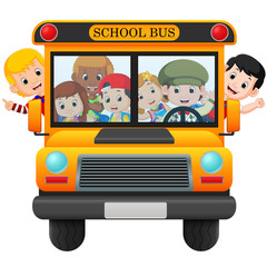 illustration of children of a school bus