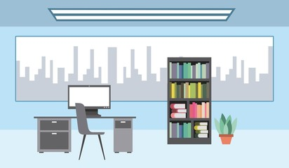 workspace interior - big window desk pc bookshelf plant vector illustration