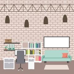 workspace interior - office desk pc sofa bookcase board ceiling lamps vector illustration