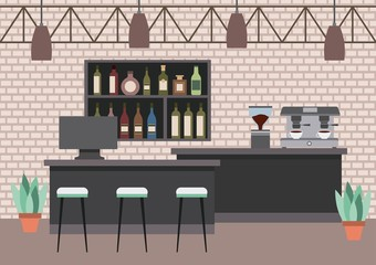 interior coffee shop - bar counter pc espresso machine shelf liquor plant vector illustration