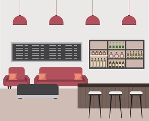 interior coffee shop bar counter sofa shelf bottle liquor beverage stools vector illustration
