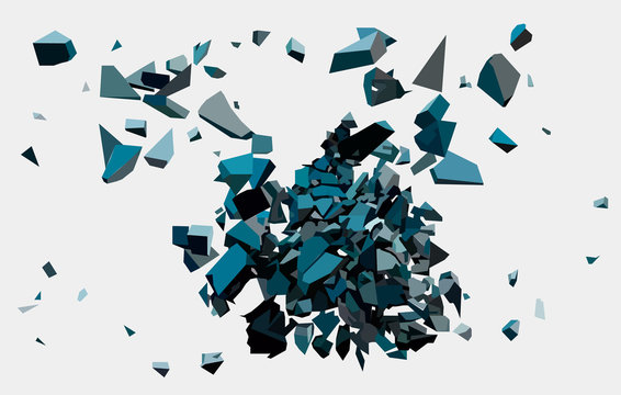 Black triangle with debris on white background. Abstract black explosion. Geometric background. Vector illustration