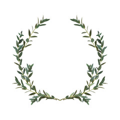 Thyme leaf green wreath Vector isolated Medicinal set of leaves